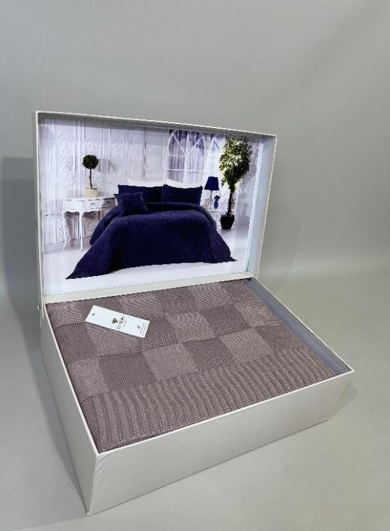 Diamond Alegra вязаный плед с наволочками 220х240 Lilac Турция