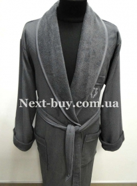 Мужской махровый халат Maison D'or Quattro с воротником серый