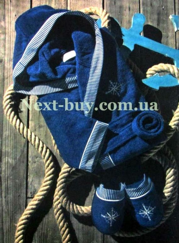 Мужской махровый халат Maison Dor Marine Club с капюшоном и тапками синий