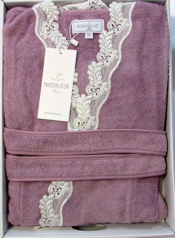Женский халат бамбуковый Maison D'or Dina Long с кружевом фиолетовый