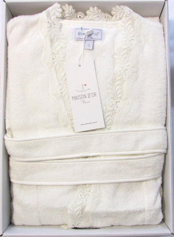 Женский халат бамбуковый Maison D'or Dina Long с кружевом кремовый