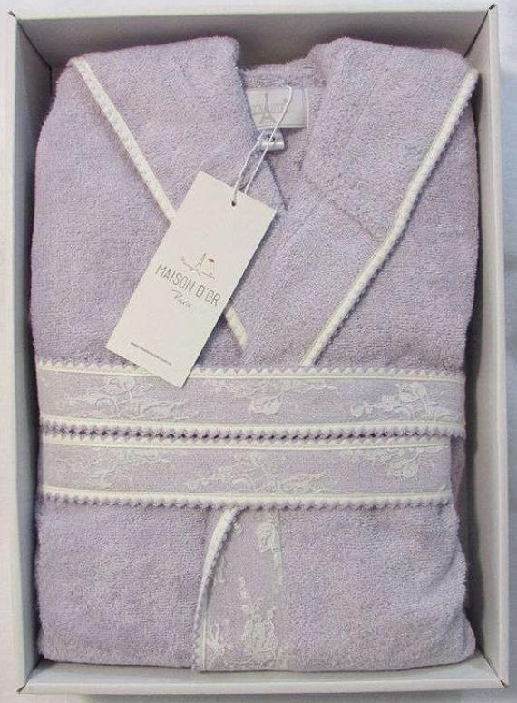 Женский халат бамбуковый Maison D'or Vassago с гипюром фиолетовый