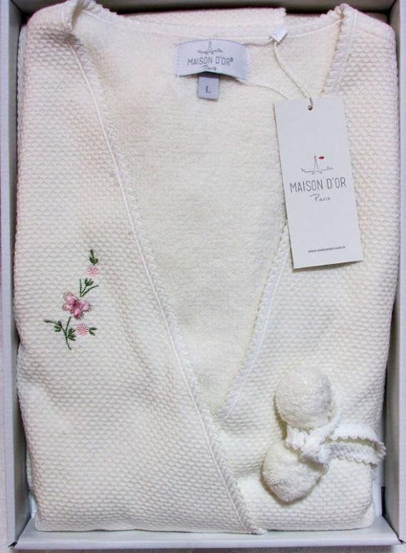 Женский халат махровый Maison D'or Adelynn с махровой сеткой и вышивкой