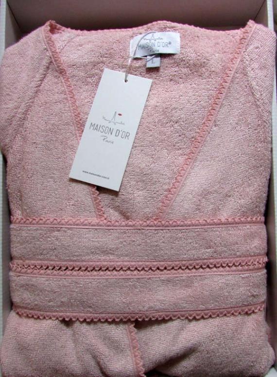 Женский халат бамбуковый Maison D'or Lisa с кружевом грязно-розовый