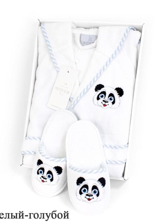 Maison D`or Luna Enfants Панда детский махровый халат с тапочками для мальчика
