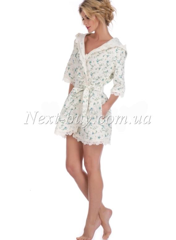 Maison D'or Roses Camile женский халат вафельный с кружевом короткий бирюзовый