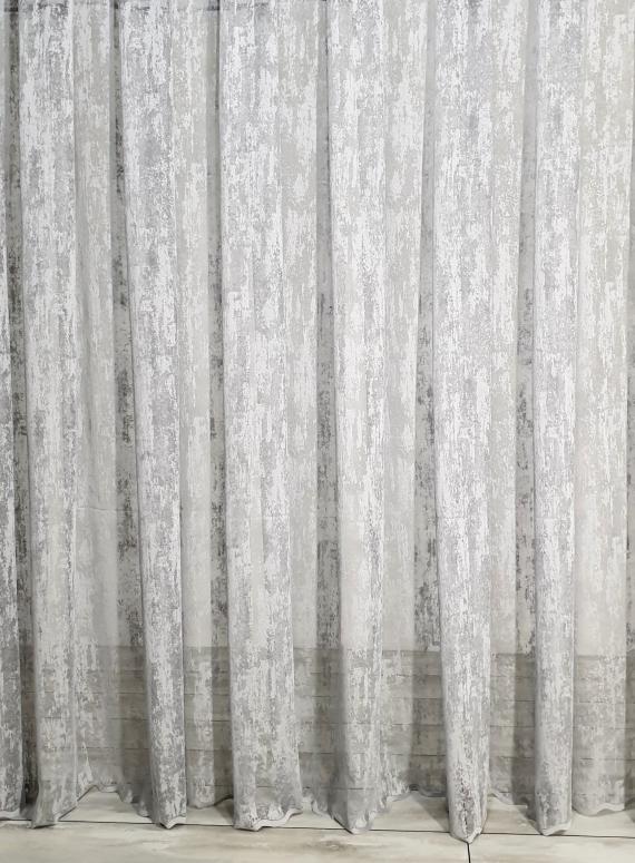 Тюль сетка с вкраплениями Velvet серый