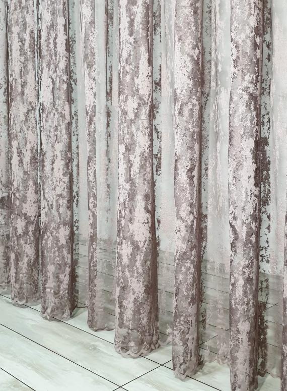 Тюль сетка с вкраплениями Velvet шоколад с розовым оттенком