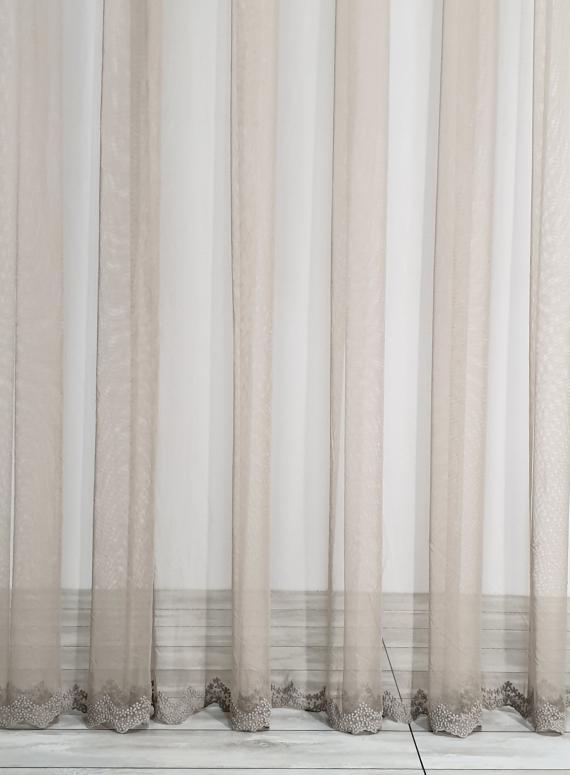 Тюль фатин з візерунковим низом Below flower кавовий