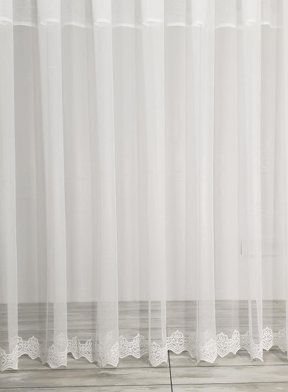 Тюль сетка с узорным низом Below белый