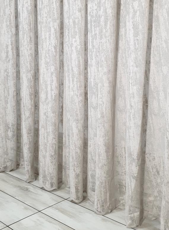 Тюль сетка с вкраплениями Velvet серо-бежевый