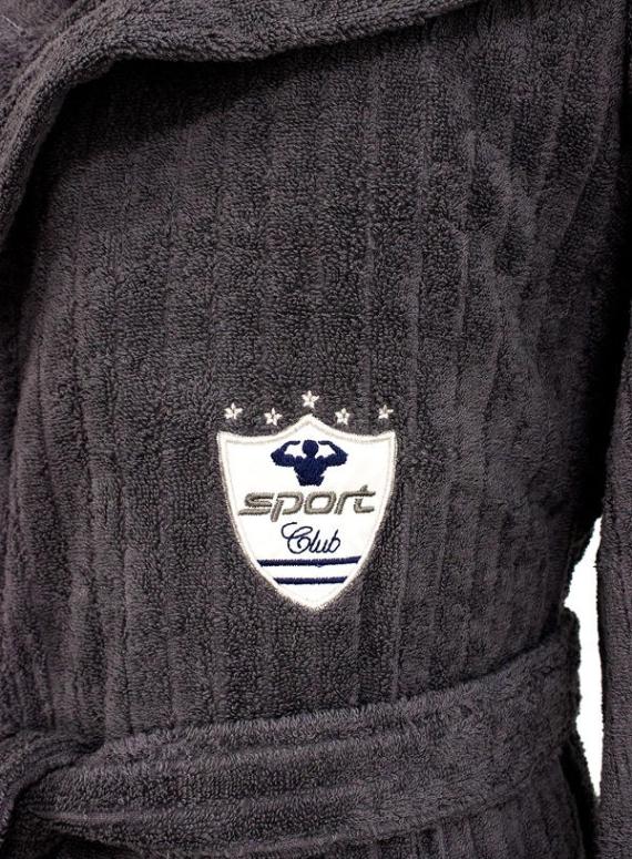 Мужской махровый халат Maison D'or Rodolphe с тапками серый