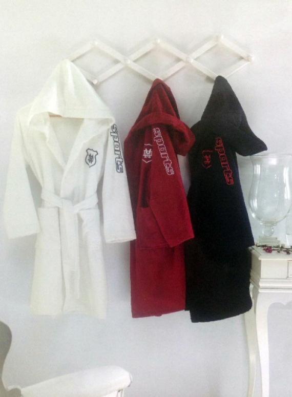 Maison Dor Sports халат подростковый с капюшоном белый