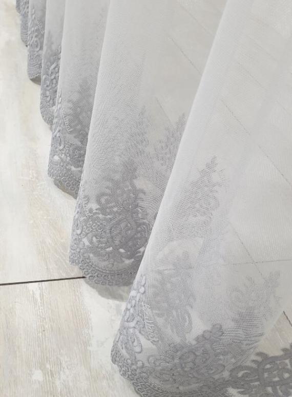 Тюль грек-сетка Low серый
