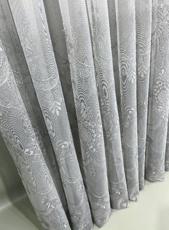 Тюль грек-сетка с узором Hanging серый Турция