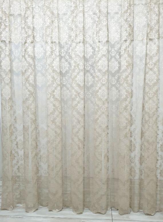 Тюль грек-сетка с жаккардовым узором Jacquard бежевый