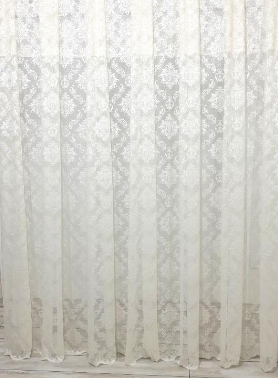 Тюль грек-сетка с жаккардовым узором Jacquard кремовый