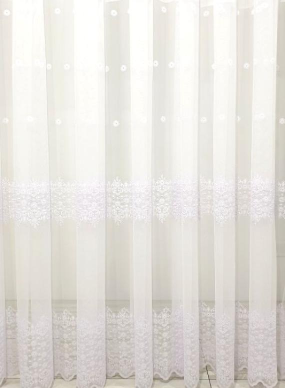 Тюль грек-сетка с аппликацией Сamomile белый