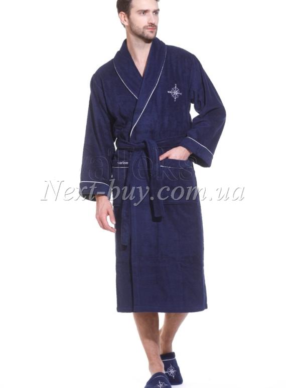Мужской темно-синий махровый халат Maison Dor Marine Club с тапками
