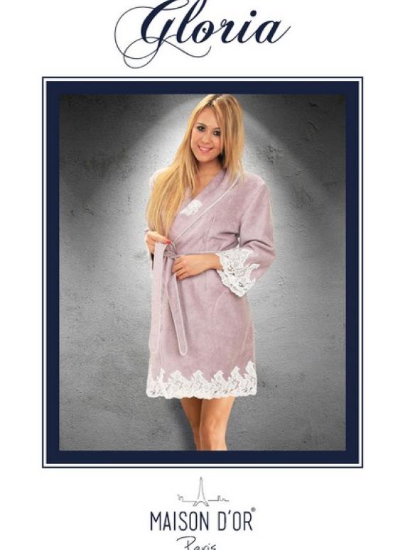 Maison D'or Gloria бамбуковый женский халат со стразами светло-персиковый