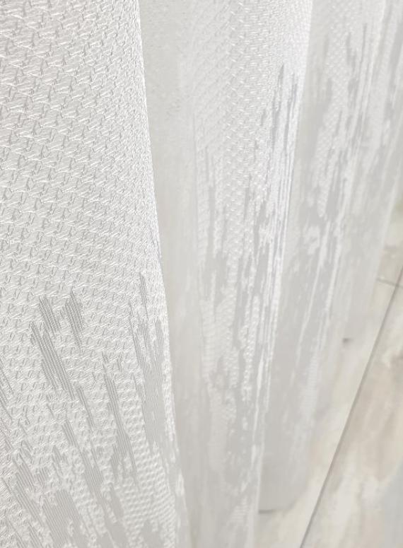 Тюль с узором грек-сетка Scheme белый