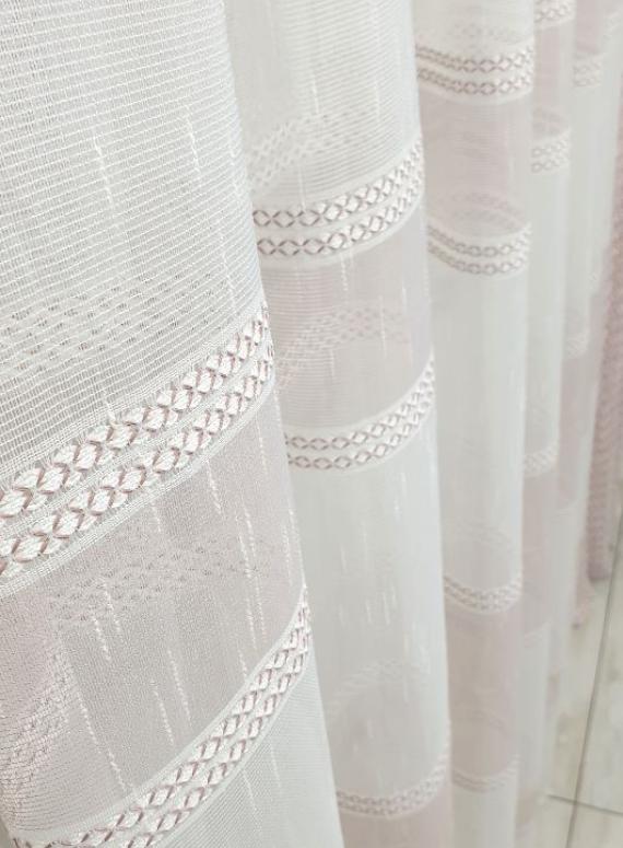 Тюль лён с плетением Linen крем+пудра