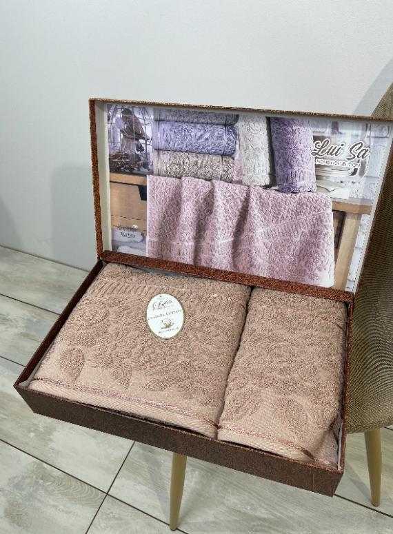Набор махровых полотенец LuiSa Rose из 2шт. пудра Турция