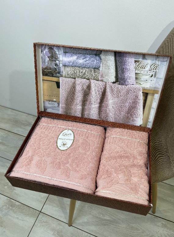 Набор махровых полотенец LuiSa Rose из 2шт. розовый Турция