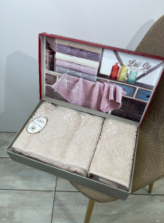 Набор махровых полотенец LuiSa из 2шт. бежевый Турция
