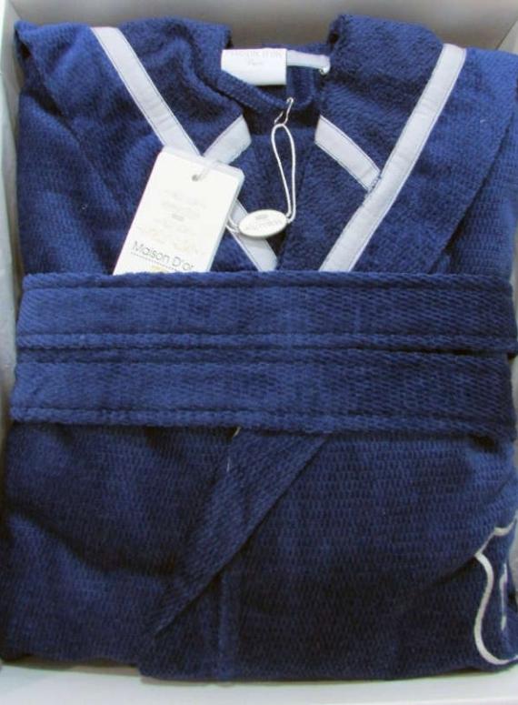 Мужской махровый халат Maison D`or Paris Leonor с капюшоном синий