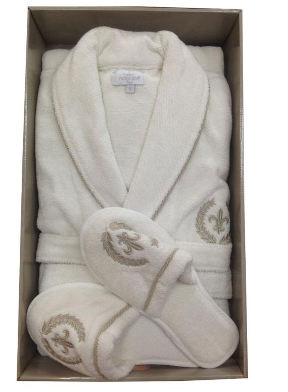 Мужской махровый халат Maison Dor Seymour с воротником и тапками кремовый