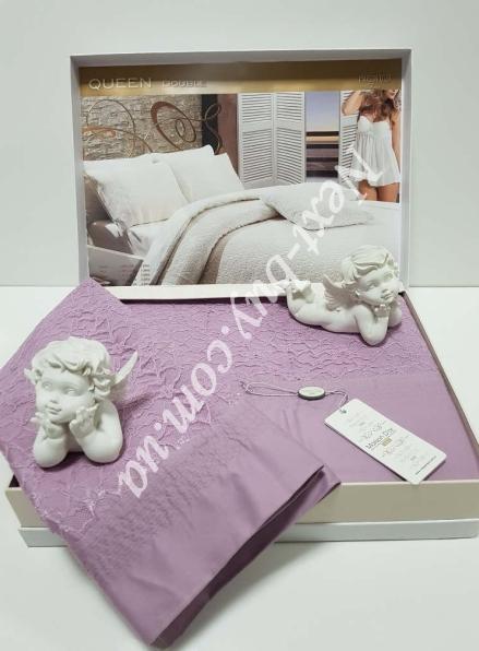 Постельное белье Maison D'or Queen 200x220см сатин с кружевом фиолетовый
