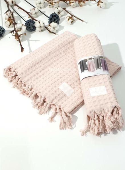 Maison D'or Ancelina персиковые хлопковые плетенные полотенца для бани 70х140см