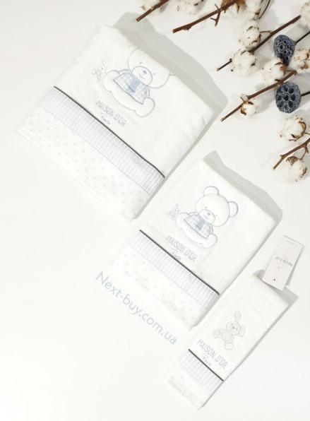Maison D`or Dear Panda комплект голубых детских полотенец 3 шт из хлопка с аппликацией