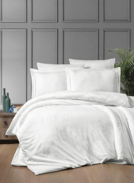First choice Chackers white delux сатин постельное белье евро 200х220