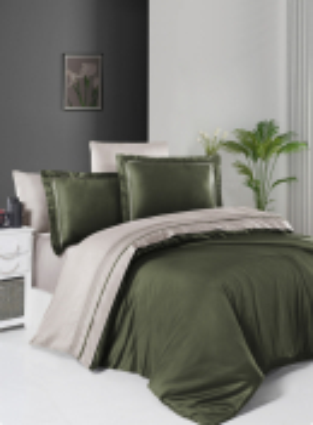 First choice Serenity Dark Green & Sand delux сатин постільна білизна евро 200х220
