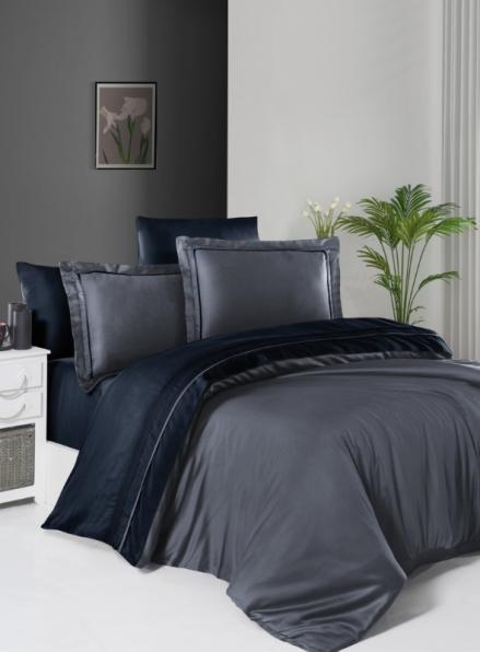 First choice Serenity Dark Grey & Navy Blue delux сатин постільна білизна евро 200х220