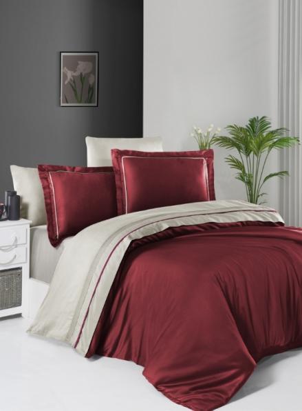 First choice Serenity Dark Red & Beige delux сатин постільна білизна евро 200х220