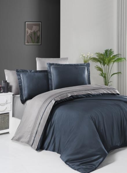 First choice Serenity Denim & Grey delux сатин постільна білизна евро 200х220
