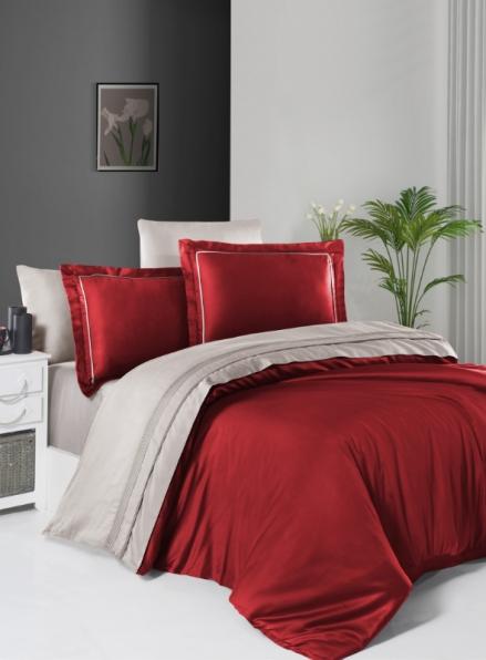 First choice Serenity Red & Sand delux сатин постільна білизна евро 200х220