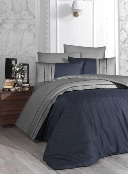 First choice Square Duet Denim&Grey delux сатин постельное белье евро 200х220