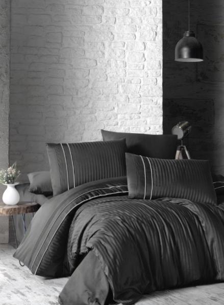 First choice Stripe style anthracite-smoke delux сатин постільна білизна евро 200х220