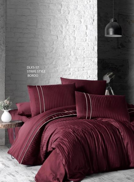 First choice Stripe style bordo delux сатин постельное белье семейный 160х220(2)