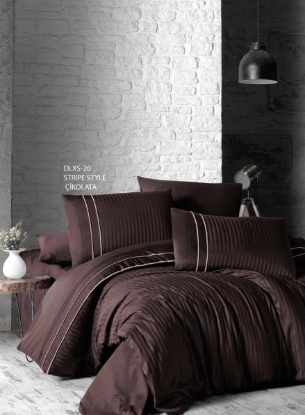 First choice Stripe style cikolata delux сатин постельное белье семейный 160х220(2)