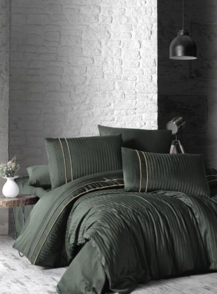 First choice Stripe style dark green delux сатин постельное белье евро 200х220