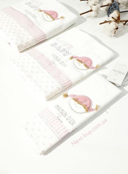 Maison D`or Love Baby комплект розовых детских полотенец 3 шт из хлопка с аппликацией