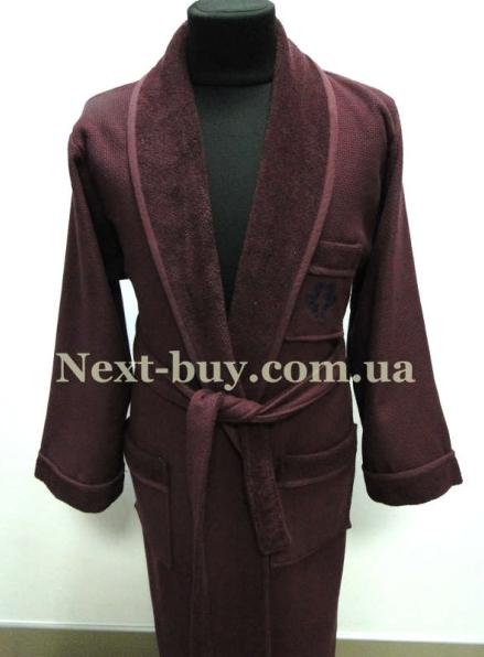 Мужской махровый халат Maison D`or Quattro с воротником баклажан