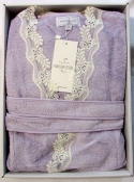 Женский халат бамбуковый Maison D'or Dina с кружевом сиреневый