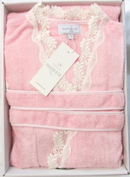 Женский халат бамбуковый Maison D'or Dina Long с кружевом светло-розовый