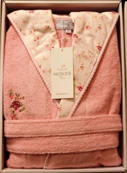 Женский халат бамбуковый Maison D'or Roses je acix с капюшоном